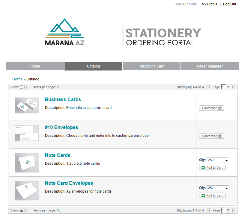 Example web-to-print portal catalog view
