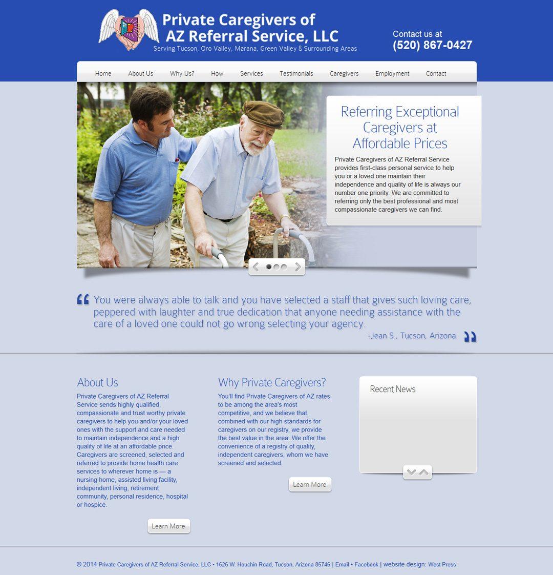 Private Caregivers of AZ website