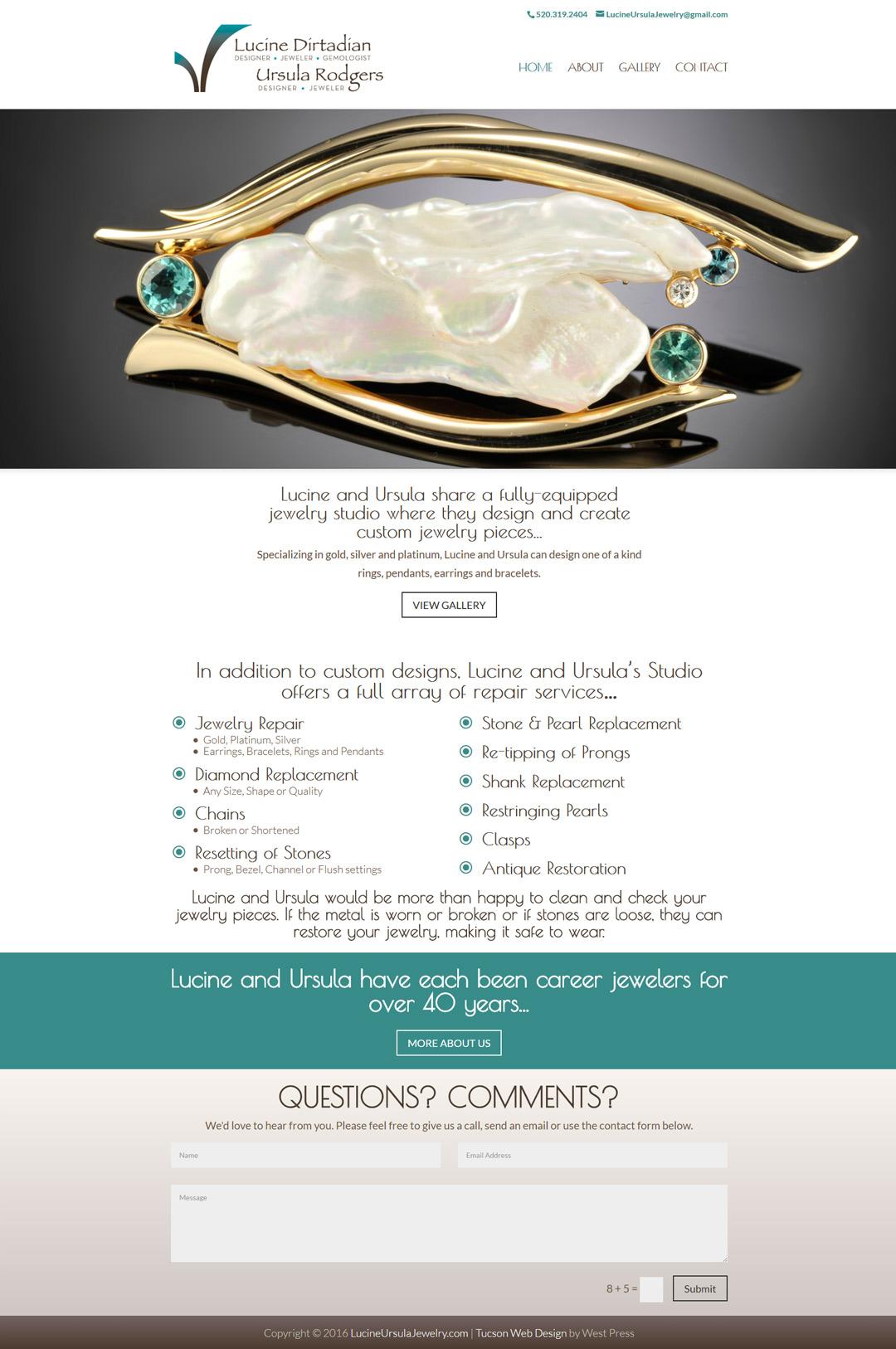 full homepage screenshot of Lucine Ursula Jewelry